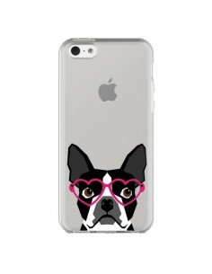 Coque iPhone 5C Boston Terrier Lunettes Coeurs Chien Transparente - Pet Friendly