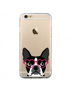 Coque Boston Terrier Lunettes Coeurs Chien Transparente pour iPhone 6 et 6S - Pet Friendly