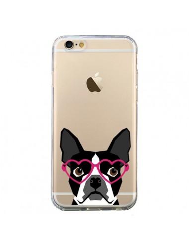 Coque iPhone 6 et 6S Boston Terrier Lunettes Coeurs Chien Transparente - Pet Friendly