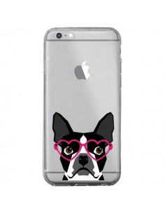 Coque iPhone 6 Plus et 6S Plus Boston Terrier Lunettes Coeurs Chien Transparente - Pet Friendly