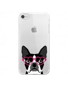 Coque Boston Terrier Lunettes Coeurs Chien Transparente pour iPhone 7 et 8 - Pet Friendly