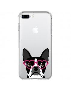 Coque Boston Terrier Lunettes Coeurs Chien Transparente pour iPhone 7 Plus et 8 Plus - Pet Friendly