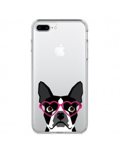 Coque iPhone 7 Plus et 8 Plus Boston Terrier Lunettes Coeurs Chien Transparente - Pet Friendly