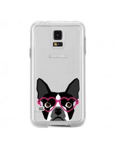 Coque Boston Terrier Lunettes Coeurs Chien Transparente pour Samsung Galaxy S5 - Pet Friendly
