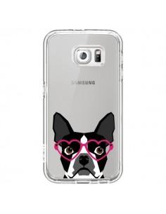 Coque Boston Terrier Lunettes Coeurs Chien Transparente pour Samsung Galaxy S6 - Pet Friendly