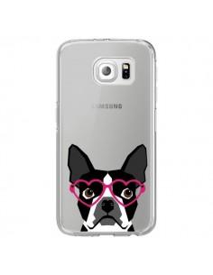 Coque Boston Terrier Lunettes Coeurs Chien Transparente pour Samsung Galaxy S6 Edge - Pet Friendly