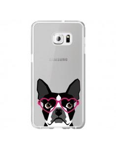 Coque Boston Terrier Lunettes Coeurs Chien Transparente pour Samsung Galaxy S6 Edge Plus - Pet Friendly