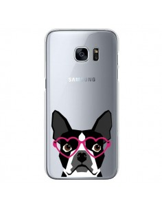 Coque Boston Terrier Lunettes Coeurs Chien Transparente pour Samsung Galaxy S7 - Pet Friendly