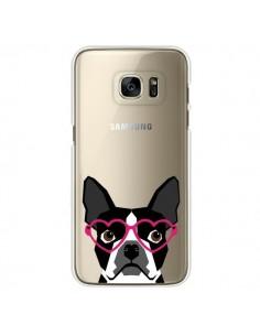 Coque Boston Terrier Lunettes Coeurs Chien Transparente pour Samsung Galaxy S7 Edge - Pet Friendly