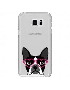Coque Boston Terrier Lunettes Coeurs Chien Transparente pour Samsung Galaxy Note 5 - Pet Friendly