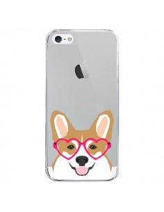 Coque iPhone 5/5S et SE Chien Marrant Lunettes Coeurs Transparente - Pet Friendly