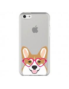 Coque iPhone 5C Chien Marrant Lunettes Coeurs Transparente - Pet Friendly
