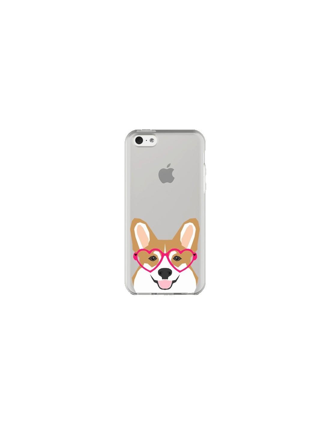 coque iphone 5c chien marrant lunettes coeurs transparente pet friendly