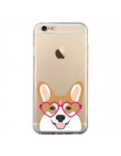 Coque iPhone 6 et 6S Chien Marrant Lunettes Coeurs Transparente - Pet Friendly