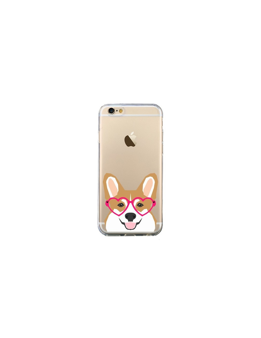 coque chien marrant lunettes coeurs transparente pour iphone 6 et 6s pet friendly. Black Bedroom Furniture Sets. Home Design Ideas