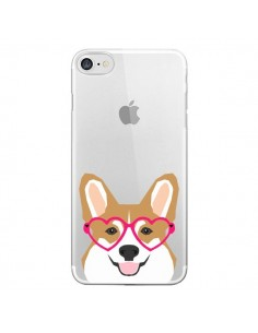 Coque Chien Marrant Lunettes Coeurs Transparente pour iPhone 7 - Pet Friendly