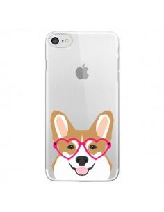 Coque iPhone 7 et 8 Chien Marrant Lunettes Coeurs Transparente - Pet Friendly