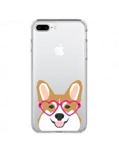Coque iPhone 7 Plus et 8 Plus Chien Marrant Lunettes Coeurs Transparente - Pet Friendly
