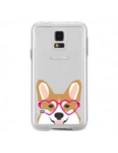 Coque Chien Marrant Lunettes Coeurs Transparente pour Samsung Galaxy S5 - Pet Friendly