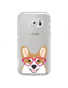 Coque Chien Marrant Lunettes Coeurs Transparente pour Samsung Galaxy S6 - Pet Friendly