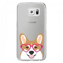 Coque Chien Marrant Lunettes Coeurs Transparente pour Samsung Galaxy S6 Edge - Pet Friendly