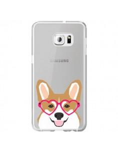 Coque Chien Marrant Lunettes Coeurs Transparente pour Samsung Galaxy S6 Edge Plus - Pet Friendly