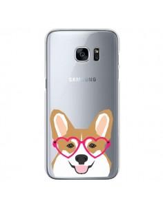 Coque Chien Marrant Lunettes Coeurs Transparente pour Samsung Galaxy S7 - Pet Friendly