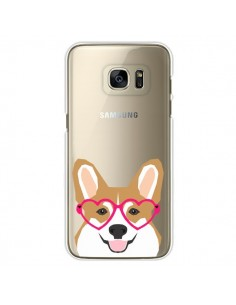 Coque Chien Marrant Lunettes Coeurs Transparente pour Samsung Galaxy S7 Edge - Pet Friendly