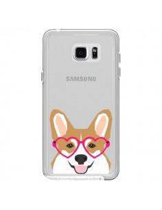 Coque Chien Marrant Lunettes Coeurs Transparente pour Samsung Galaxy Note 5 - Pet Friendly