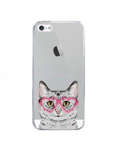 Coque iPhone 5/5S et SE Chat Gris Lunettes Coeurs Transparente - Pet Friendly