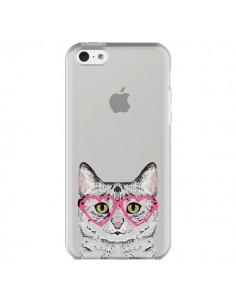 Coque Chat Gris Lunettes Coeurs Transparente pour iPhone 5C - Pet Friendly