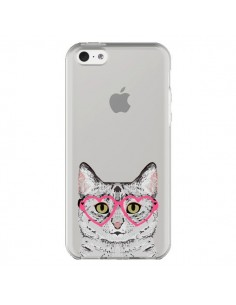 Coque iPhone 5C Chat Gris Lunettes Coeurs Transparente - Pet Friendly