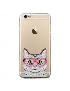 Coque Chat Gris Lunettes Coeurs Transparente pour iPhone 6 et 6S - Pet Friendly