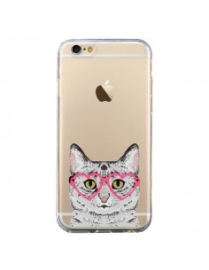 Coque iPhone 6 et 6S Chat Gris Lunettes Coeurs Transparente - Pet Friendly
