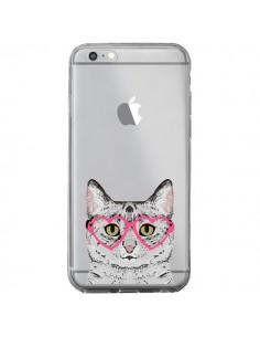 Coque Chat Gris Lunettes Coeurs Transparente pour iPhone 6 Plus et 6S Plus - Pet Friendly