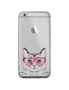 Coque iPhone 6 Plus et 6S Plus Chat Gris Lunettes Coeurs Transparente - Pet Friendly