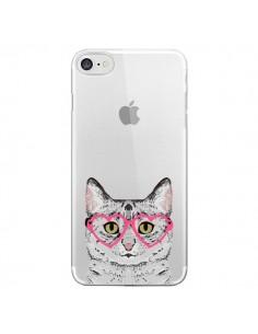 Coque iPhone 7 et 8 Chat Gris Lunettes Coeurs Transparente - Pet Friendly