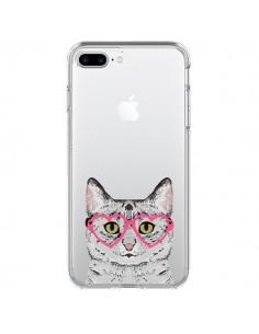 Coque Chat Gris Lunettes Coeurs Transparente pour iPhone 7 Plus et 8 Plus - Pet Friendly