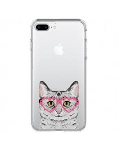 Coque iPhone 7 Plus et 8 Plus Chat Gris Lunettes Coeurs Transparente - Pet Friendly