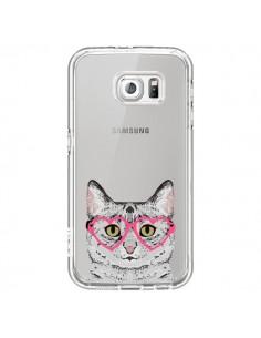 Coque Chat Gris Lunettes Coeurs Transparente pour Samsung Galaxy S6 - Pet Friendly