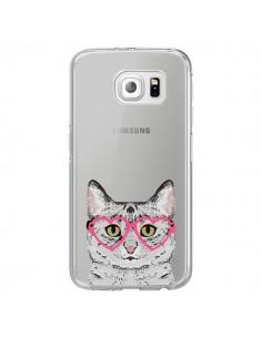 Coque Chat Gris Lunettes Coeurs Transparente pour Samsung Galaxy S6 Edge - Pet Friendly