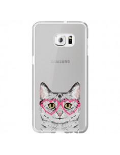 Coque Chat Gris Lunettes Coeurs Transparente pour Samsung Galaxy S6 Edge Plus - Pet Friendly