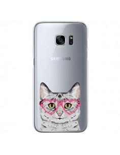 Coque Chat Gris Lunettes Coeurs Transparente pour Samsung Galaxy S7 - Pet Friendly