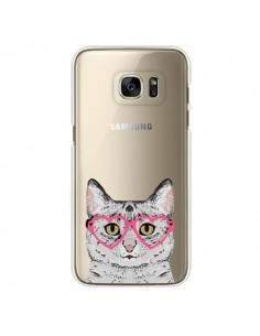 Coque Chat Gris Lunettes Coeurs Transparente pour Samsung Galaxy S7 Edge - Pet Friendly
