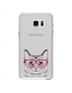 Coque Chat Gris Lunettes Coeurs Transparente pour Samsung Galaxy Note 5 - Pet Friendly