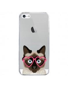 Coque Chat Marron Lunettes Coeurs Transparente pour iPhone 5/5S et SE - Pet Friendly