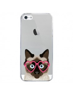 Coque iPhone 5/5S et SE Chat Marron Lunettes Coeurs Transparente - Pet Friendly