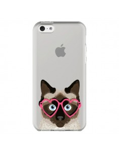 Coque iPhone 5C Chat Marron Lunettes Coeurs Transparente - Pet Friendly