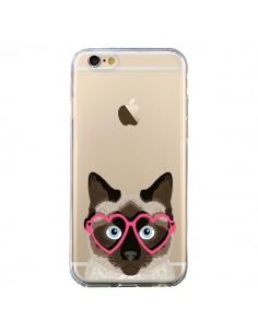 Coque Chat Marron Lunettes Coeurs Transparente pour iPhone 6 et 6S - Pet Friendly