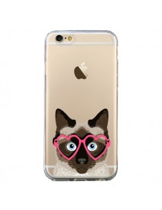 Coque iPhone 6 et 6S Chat Marron Lunettes Coeurs Transparente - Pet Friendly
